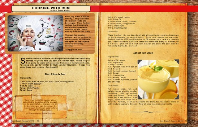 August 2015- Cooking with Rum