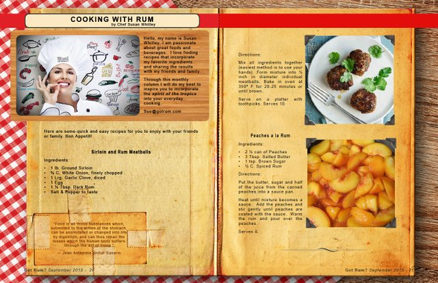 September 2015- Cooking with Rum