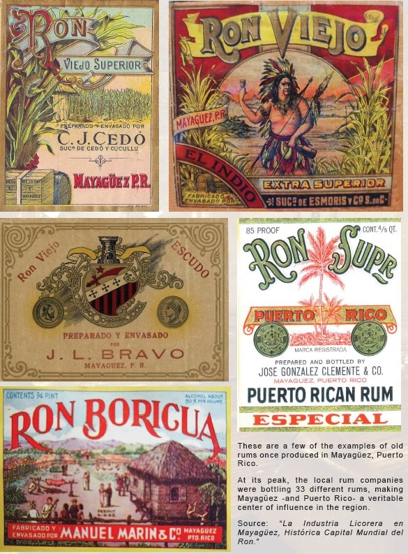 "Labels of rum products featured inBook Review of ""La Industria Licorera en Mayagüez, Antigua Capital Mundial del Ron"""