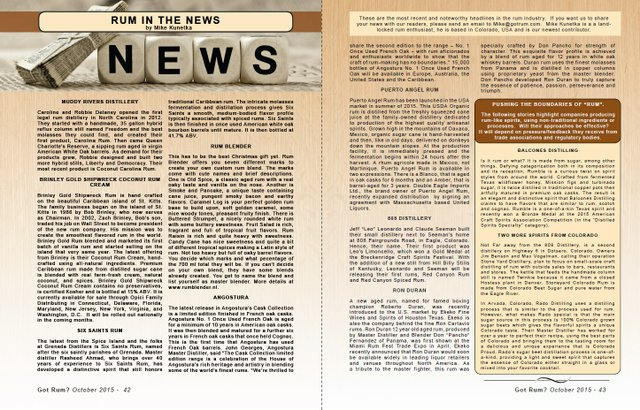 October 2015- Rum in the News