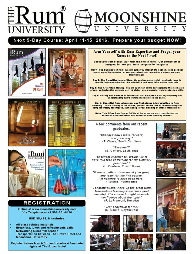5- Day Rum Course April 11th- 15th, 2016