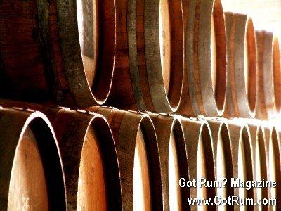 Stacked Oak Barrels