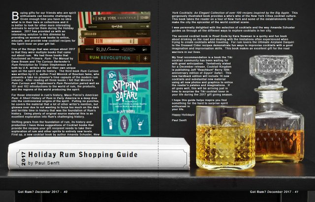 2017 Holiday Rum Shopping Guide by Paul Senft