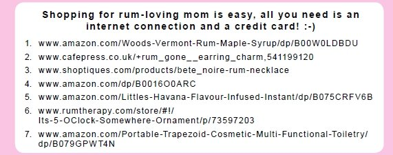 Sources for rum gift ideas for Mom