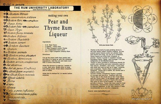 Making your own Pear ans Thyme Rum Liqueur