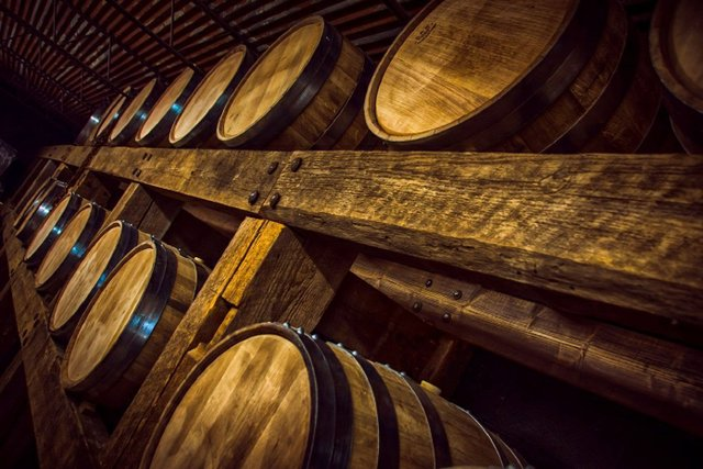 Barrels lined up at the Rusted Crow Distillery