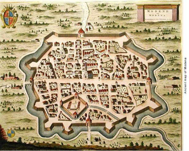 Ancient map of Modena Italy