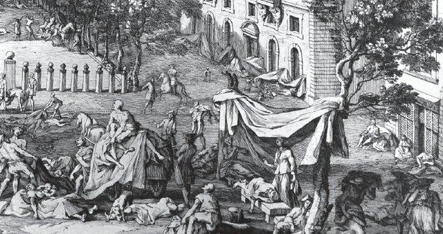 Outdoor scene of the sick and fallen