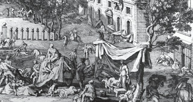 Outdoor scene of the sick and fallen