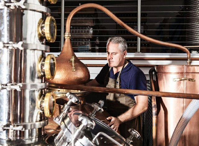 Brian restall inspecting the stills