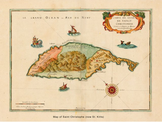 map of saint Christophe (now st. Kitts)