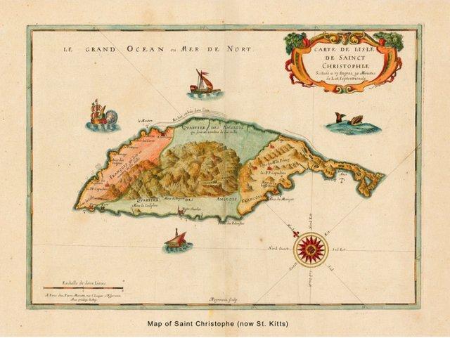 map of saint Christophe (now st. Kitts)