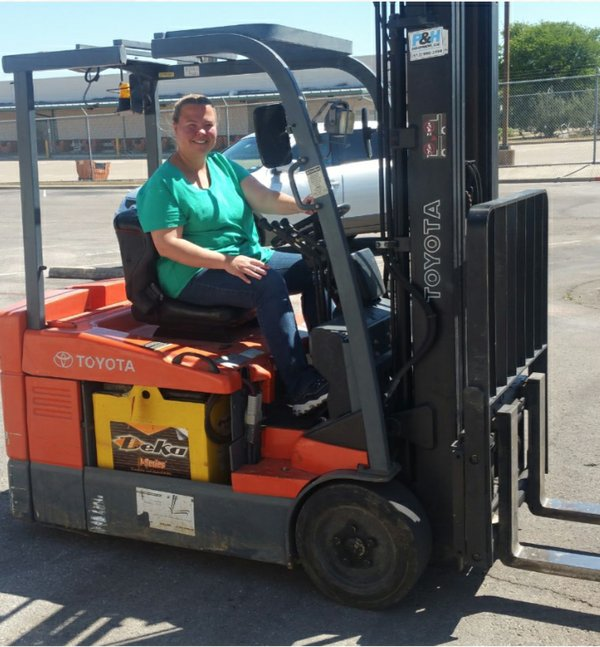 Margaret in a forklift Team Interview