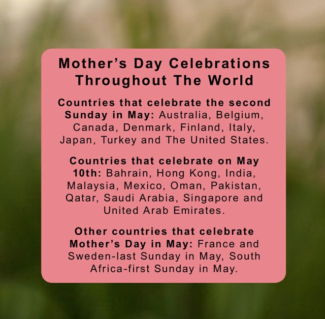 Mother's Day Celebrations througout the world