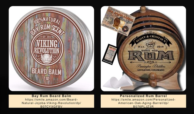 Bay Rum Beard Balm and Personalized Rum Barrel