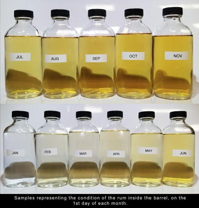 Rum Aging Science sample bottles Nov