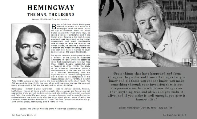 Hemingway, The Man, The Legend