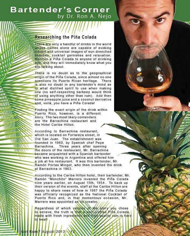 Researchin the Pina Colada by Ron