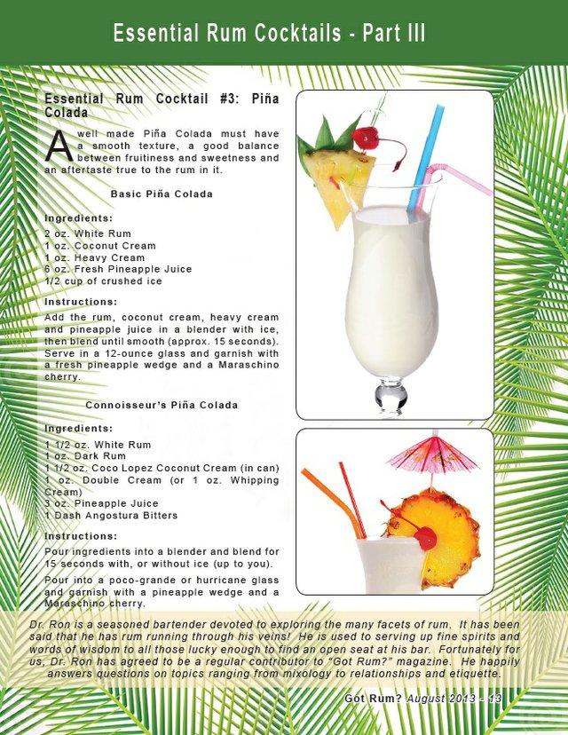 Essential Rum Cocktail #3: Piña Colada