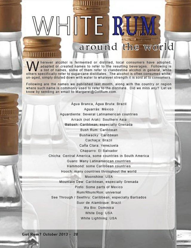 White Rum:Around the World- Results