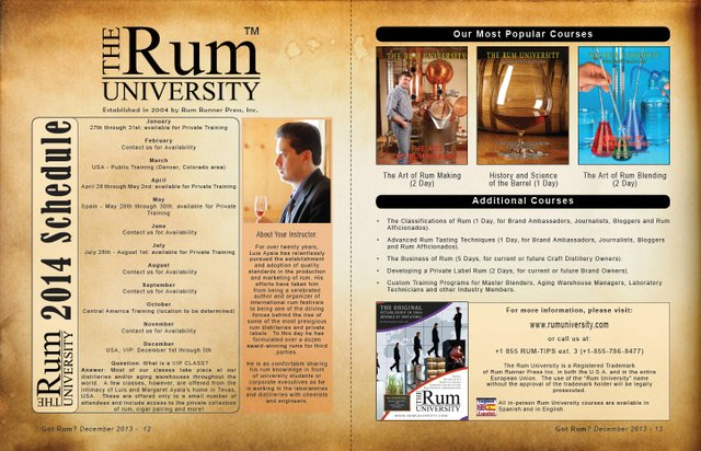 2014 Course Schedule from The Rum University
