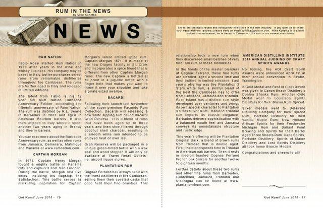 June 2014 Rum in the News