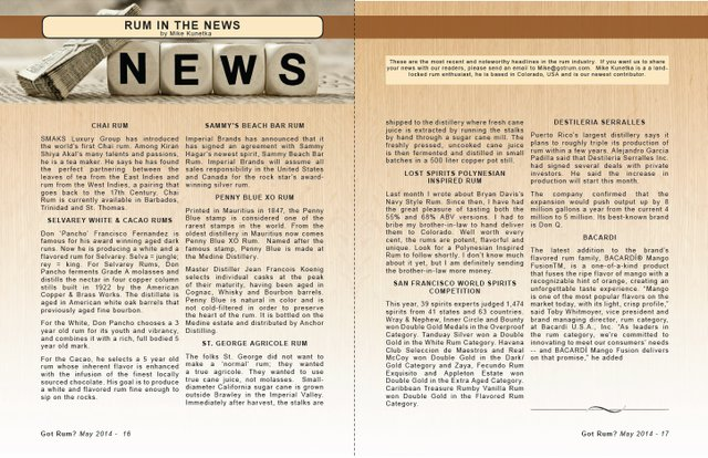 May 2014- Rum in the News