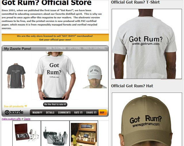 "Official ""Got Rum?"" Merchandise"
