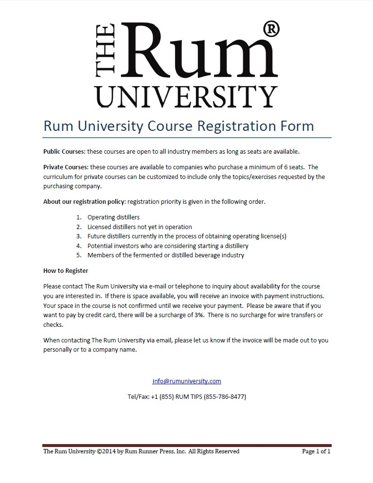The Rum University Course Registration