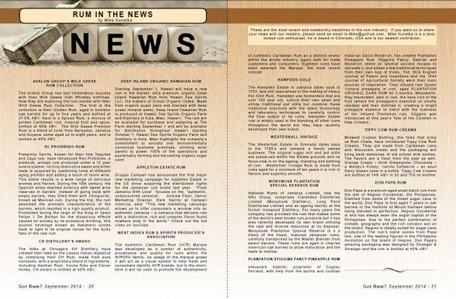 September 2014- Rum in the News