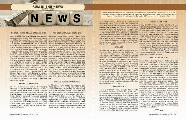 October 2014- Rum in the News