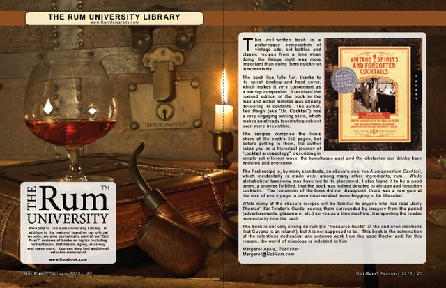 "The Rum University Library:  Book Review of ""Vintage Spirits and Forgotten Cocktails"""