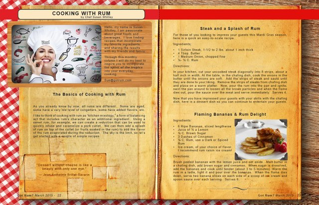 "March 2015: COOKING WITH RUM- ""Steak and a Splash of Rum"" and ""Flaming Bananas & Rum Delight"""