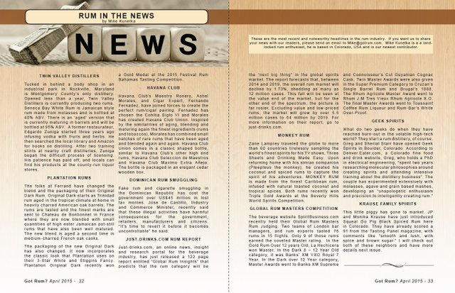 April 2015- Rum in the News
