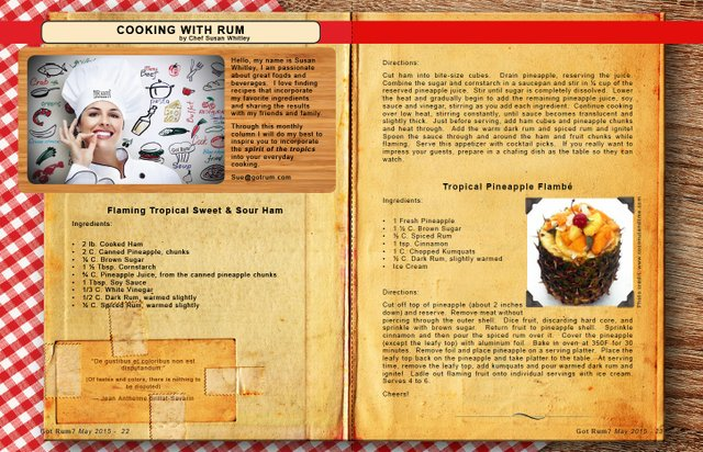 May 2015- Cooking with Rum