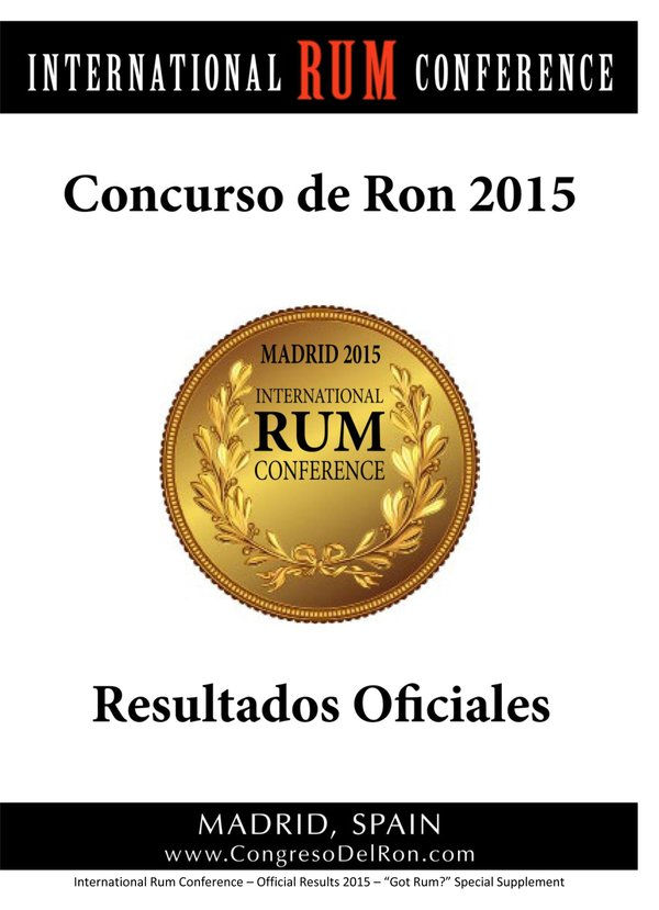 2015 International Rum Conference Rum Tasting Competition Results