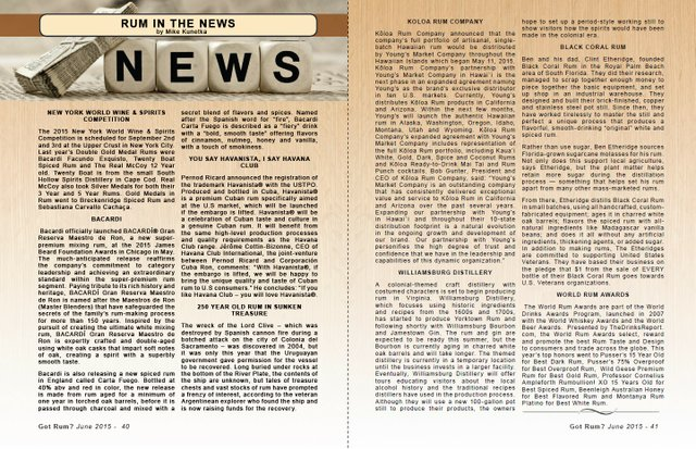 June 2015- Rum in the News