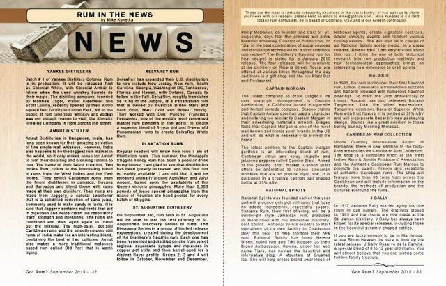 September 2015- Rum in the News